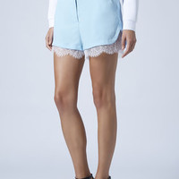 Lace Trim Runner Shorts - Pale Blue