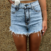 Jennifer High Waisted Stretch High Side Light Acid Wash Frayed Denim Shorts