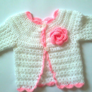 Crochet Baby Sweater jacket cardigan coat hat with flower shower gift Pink and white baby crochet set