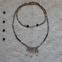 Night Owl Necklace - Three Wire-Wrapped Quartz Pendants, Black & Silver Beads