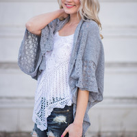 Shawl We Dance Knitted Sweater Top (Grey)