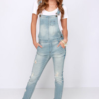 Festival Blues Light Wash Distressed Denim Overalls
