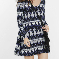 Black And Blue Southwestern Print Trapeze Dress from EXPRESS