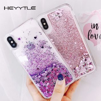 Heyytle Love Heart Liquid Phone Case For iPhone X 8 7 6S 6 Plus 5 5S 5C SE Quicksan Glitter Cute Soft Back Cover Shining Cases