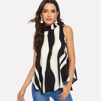 Knot Back Color Block Asymmetrical Hem Sleeveless Blouse Stand Collar Ladies Tops Pleated Elegant Blouses