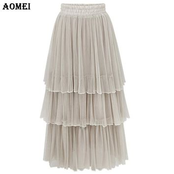 Women's Pleated Cake Tulle Skirt New Fashion Female Tutu Summer High Waist Ankle Length Jupe Elegant Party Wedding Clothes