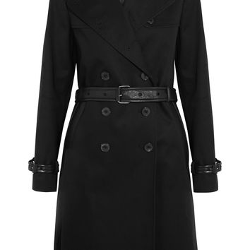 Leather-trimmed cotton-gabardine trench coat | TOM FORD | US | THE OUTNET