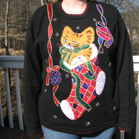 Christmas sweater, christmas, tacky sweater, tacky christmas sweater, tacky sweater party, ugly sweater, holiday sweater, cat sweater