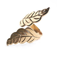 Vintage Leaf Ring - Chunky Signed Uncas Costume Jewelry / Adjustable Leaves