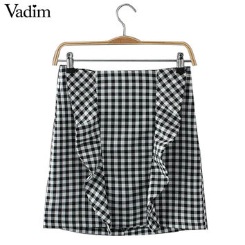 Women elegant ruffles plaid checkered skirts faldas mujer back zipper retro ladies fashion streetwear mini skirt BSQ524