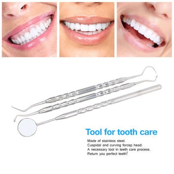 Dentistry Instrument 3Pcs Oral Hygiene Dental Tool Dental Examination Tooth Mirror Scaler Set for Oral Care Teeth Whitening SM6