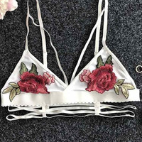 Cupshe My Embroidered Rose Bralette