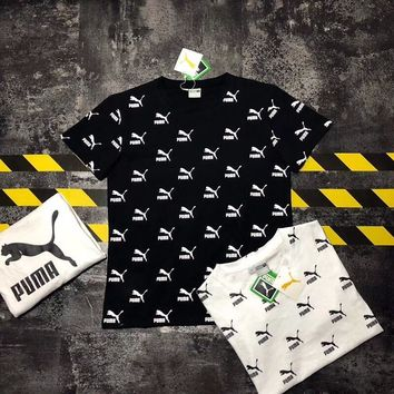 """""""Puma"""" Unisex Casual Vintage Personality Full Letter Logo Print Couple Short Sleeve T-shirt Top Tee"""