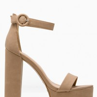 Natural Faux Nubuck Platform Ankle Strap Heels @ Cicihot Heel Shoes online store sales:Stiletto Heel Shoes,High Heel Pumps,Womens High Heel Shoes,Prom Shoes,Summer Shoes,Spring Shoes,Spool Heel,Womens Dress Shoes