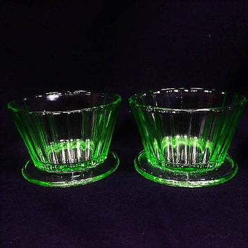 Pair Green Vaseline Depression Glass Custard Footed Cups / Sherbet / Sherbert / Dessert