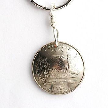 Arkansas Keychain, Domed Coin U.S. Quarter, Key Ring, 2003