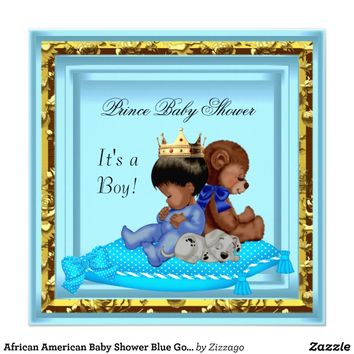 African American Baby Shower Blue Gold Boy Prince Invitations from Zazzle.com