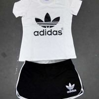 """Adidas"" Fashion Casual Letter Print Round Neck Short Sleeve Set Two-Piece Sportswear"