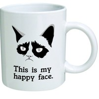 """Grumpy Cat """"This Is My Happy Face"""", Coffee Mug - 11 Oz Mug - Nice Motivational And Inspirational Office Gift"""