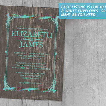 Aqua Rustic Barn Wood Wedding Invitations | Invites | Invitation Cards