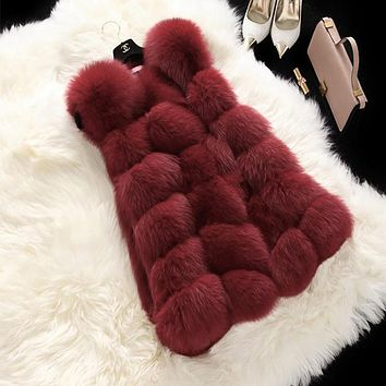 FLULU Winter Casual Faux Fur Coat Women Vintage Fashion Warm Slim Sleeveless Coat Solid Vest Female Jacket casaco feminino