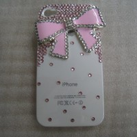 New Bling Sparkle Pink Bow Rhinestones White iPhone 4S Case