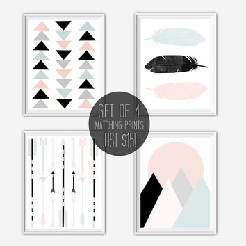 Printable Art Set, Feathers, Arrows, Mountains, Triangles, Digital Print Set, Tribal Wall Art, Boho Decor, Instant Download