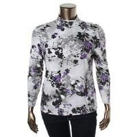 Karen Scott Womens Petites Floral Print Long Sleeves Turtleneck Top