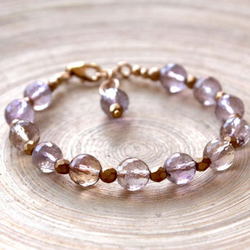 Ametrine beaded bracelet, Gold filled gemstone bracelet, ametrine and brass gold bracelet, Prom 2015 gift, Spring-summer style,healing stone