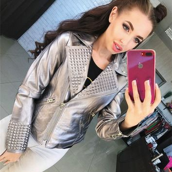 Punk Bomber Faux Leather PU zipper Rivet Coat motorcycle jacket locomotive Metal Color Lapel Beading cardigan Streetwear