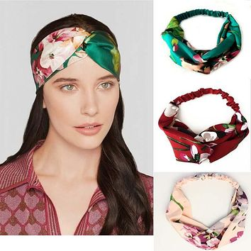 Summer Bohemian Hair Bands Print Headbands Retro Cross Turban Bandage Bandanas HairBands Hair Accessory Headwrap for Women Girls