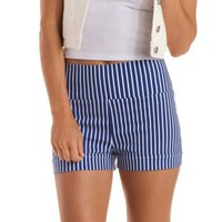 Navy Combo Striped & Cuffed High-Waisted Shorts by Charlotte Russe