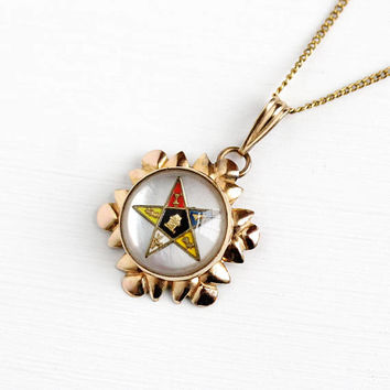 Vintage 12k Rosy Yellow Gold Filled Order of the Eastern Star Pendant Necklace - 1940s OES Enamel Mother of Pearl Domed Masonic AMCO Jewelry
