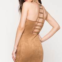 Lattice Back Suede Dress