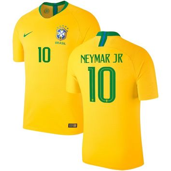 Neymar Santos Brazil National Team Nike 2018 Home Authentic Vapor Match Player Jersey – Gold