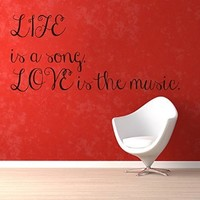 Wall Decor Vinyl Decal Sticker Quote Life Is a Song Love Is the Music Words Design Art Mural Kg283