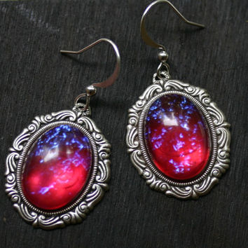 Dragon Breath Fire Opal Cameo Earrings