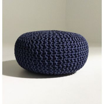 Handmade Round Knitted Pouf | Navy Blue | 80x35cm | GFURN