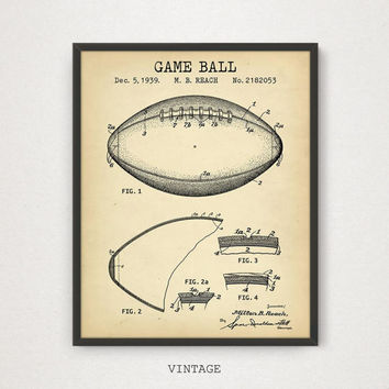 Football Game Ball Design Patent Print, Digital Blueprint Download, Football Poster, Superbowl Art, NFL American Football, boys room decor