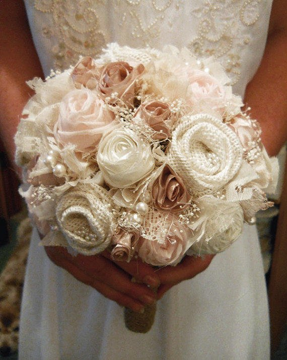 10 large size petal pink bridal bouquet from papernlace for Flowers for champagne wedding dress