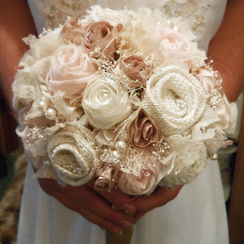 "10"" Large Size Petal Pink Bridal Bouquet. Colors are eggshell, petal pink, champagne, ivory and natural burlap."