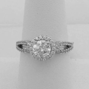 Split Shank with Halo CZ Engagement Ring - Sterling Silver 1 Carat Cubic  Zirconia a91a5c217