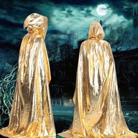 Unisex Halloween Hooded Cloak Coat Magic Wicca Medieval Cape Cosplay Coat Party Scary Ghost Costumes