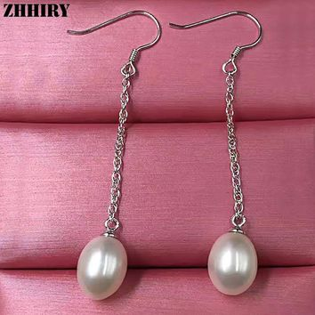 ZHHIRY Real Natural Freshwater Pearl Earring Genuine Solid 925 Sterling Silver Real Eardrop Women Fine Jewelry