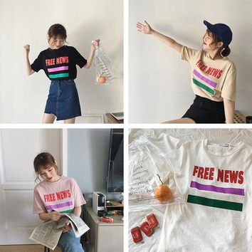 Harajuku Women T shirt Ulzzang Letter Tops Tee Female Fashion Summer Preppy Striped Tshirt Kawaii T-shirt Dropshipping  HT498