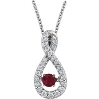 "14kt White Gold Ruby & 1/6 CTW Diamond 18"" Mystara™ Necklace"