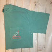 Sailboat Comfort Colors Short Sleeve Pocket Tee Shirt- preppy- cute- everyday-anchor