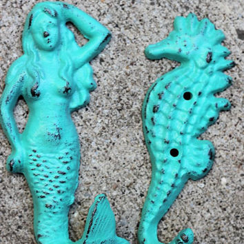 Mermaid hook // Cast Iron mermaid hook // girls bedroom decor //  bathroom decor // nautical // cast iron seahorse // mermaid and seahorse