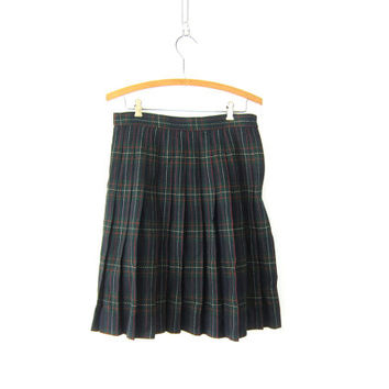 Plaid Wool Kilt Skirt School Girl PLEATED Green High Waisted 90s Preppy Checkered Revival Vintage Lolita Knee Skirt 1980s Size 10 Medium