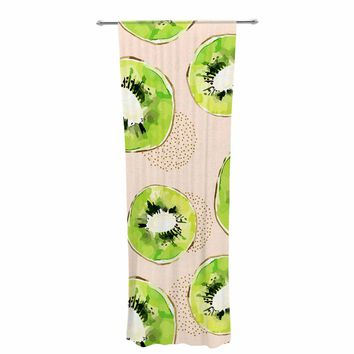 "mmartabc ""Pattern Of Kiwis"" Gold Green Pattern Food Illustration Watercolor Decorative Sheer Curtain"